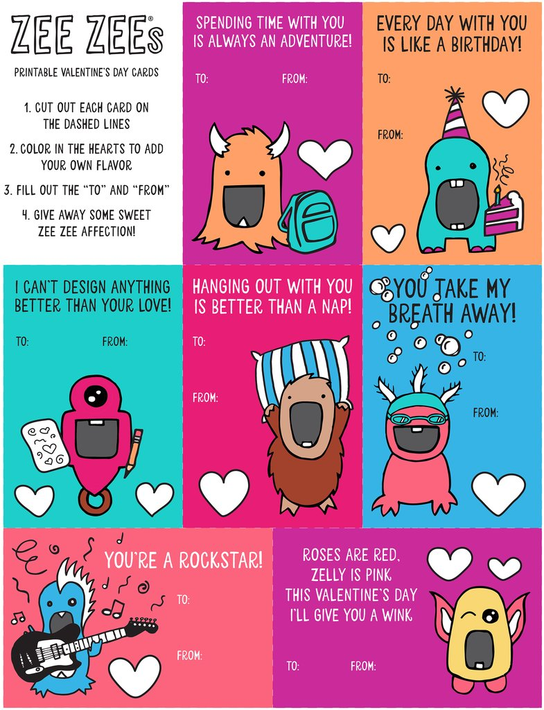 Zee Zees Valentines Day Cards 2018